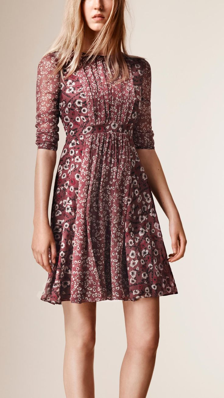 Floral Print Silk Crepe Dress Dusty Pink | Burberry