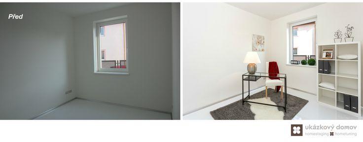 Home Staging nezařízeného rodinného domu v Praze #praha #prague #czech #homestaging #pred #po #before #after #white #walls #novostavba #working #space #red #gray #cz