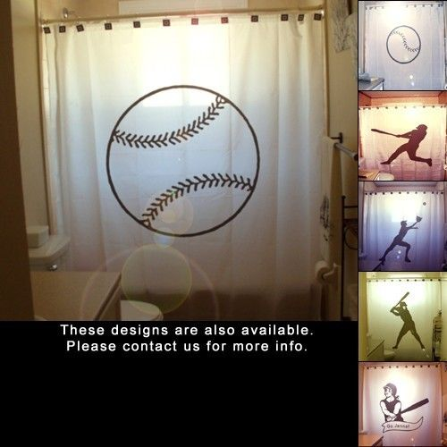 Baseball Shower Curtain ball game kids bathroom bath decor player hitter pitcher catcher bat glove swing