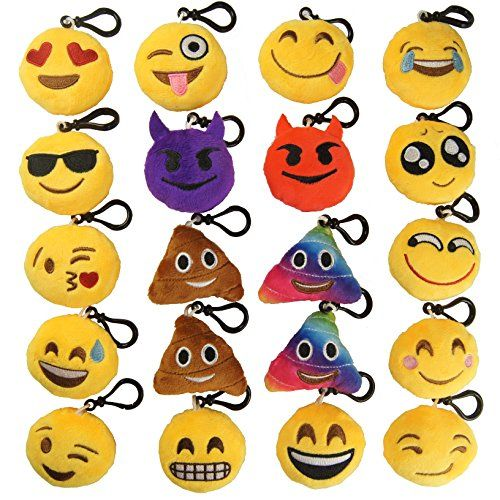 Adorable & soft emoji plush keychain. Shipped in High standard packaging Ideal for claw machine, school backpacks, school bag, book bag, goodie-bag staffers, treat bags, belt loops and gift bags, stocking stuffers, Christmas stockings, Christmas gift, Halloween goodies. Great for school party, birthday party gift. Make a great decorations for room, emoji themed party, birthday …