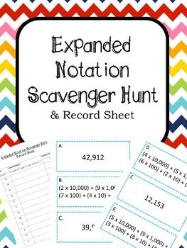 "This expanded notation activity is perfect for cooperative learning, math workshop, or early finishers. Simply print, cut, and tape the problems around your room. Give your students the record sheet and let them ""hunt"" around the room for the problems."
