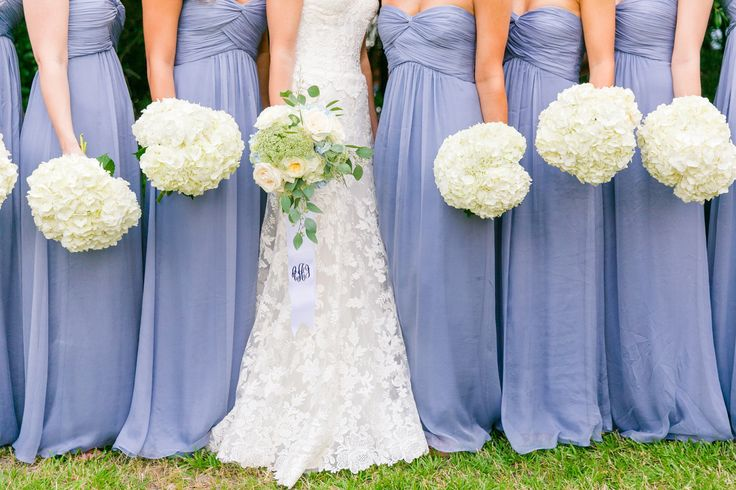 French blue/cornflower blue/periwinkle bridesmaid dresses with Hydrangeas, Queen Anne's Lace + garden roses | Summer Blue + White Island House Wedding by Charleston wedding photographer Dana Cubbage Weddings