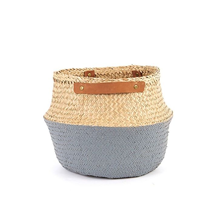 Grey basket with leather handles / Olli Ella nursery style decor / Cute dipped two tone belly basket / On trend styling item