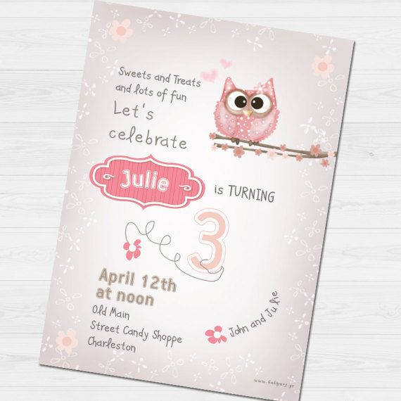 Birthday Party Invitation with name &  thank you by babyartshop