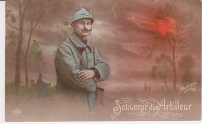 Idea Postcard - Souvenir d'un Artilleur -Boulanger 122  c1915