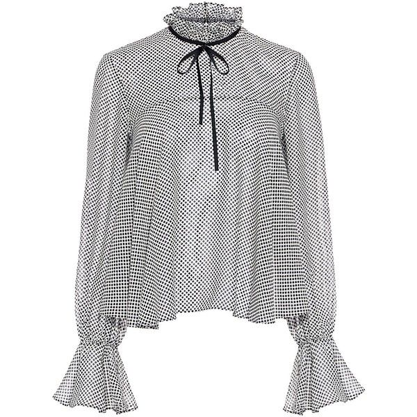 Saloni - Tyler Polka-Dot Ruffle Blouse found on Polyvore featuring tops, blouses, white ruffle collar blouse, white frilly blouse, tie neck blouse, white blouses and white polka dot blouse