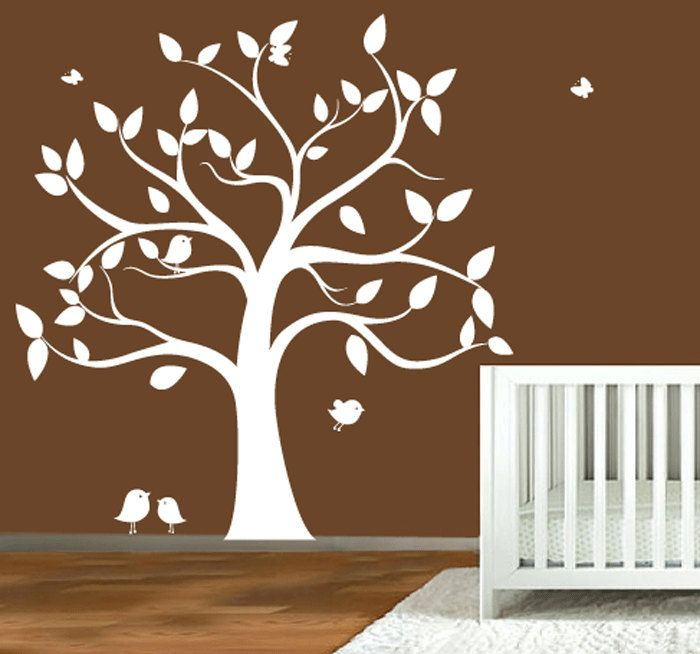 Childrens wall decal - tree silhouette with butterflies & birds - VINYL WALL ART. $120.00, via Etsy.
