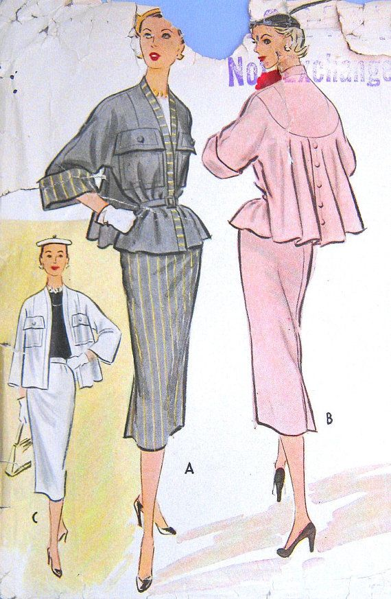 Vintage 1950s Suit Pattern Swing Topper