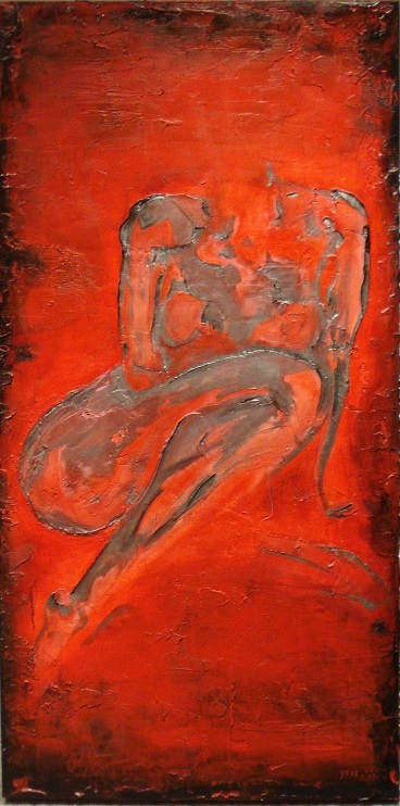 """Red Room""  24 x 48 SOLD  Appearing in Okanagan Erotic Art Show May 25, 2012 - Won people's choice award"