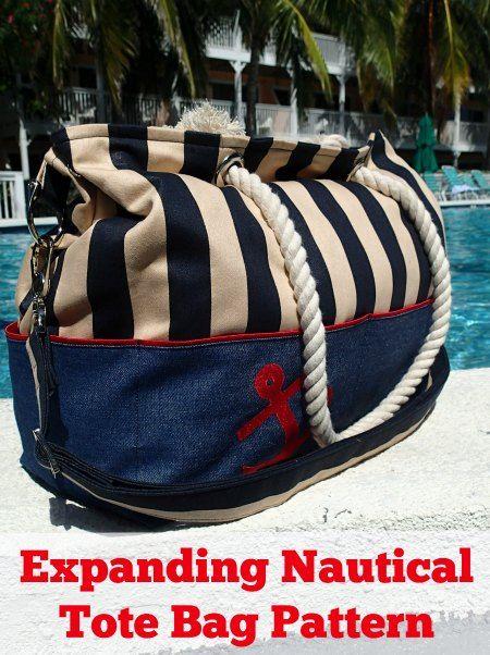 tolle große Schwimmbadtasche / Strandtasche/ maritime Handtasche I nähen free