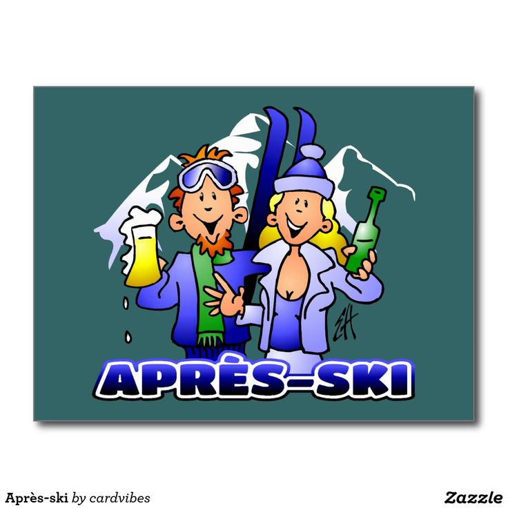 Après-ski Postcard #apresski #winter #skiing #party #skihut #Zazzle #Cardvibes #Tekenaartje #SOLD