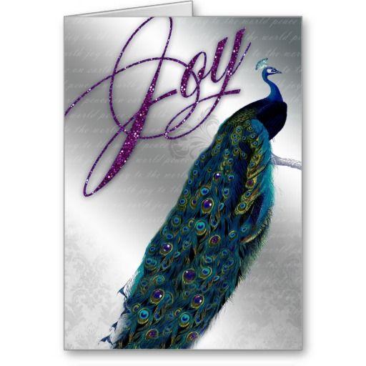 Peacock Christmas Card Vintage Modern Silver Blue