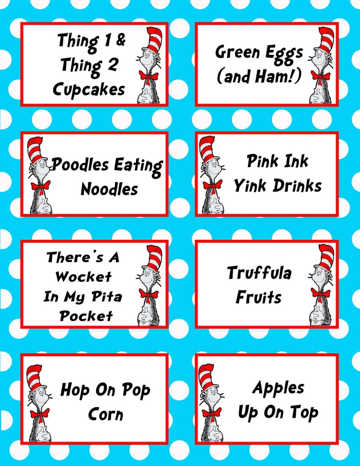 Dr. Seuss Birthday Party 3.5x2.5 Flat Labels for Food ...