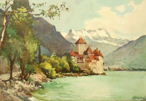 Watercolour Painting Print Chillon Signed A Marc Nicolas