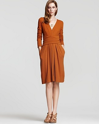 DKNY Long Sleeve Wool Jersey Dress with Twisted Waist $159.25