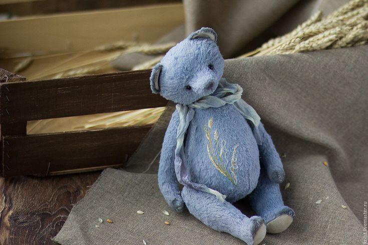 Купить Антонио - голубой, синий, кантри, деревенский стиль, травы, вышивка, мишка, мишка тедди