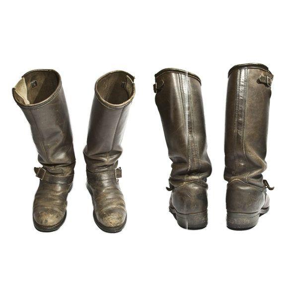 Vintage Engineer Boots Tall Distressed Biker