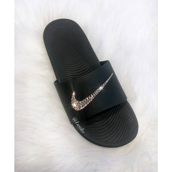 Nike Kawa Slides Flip Flops Customized With Swarovski Crystals ($65) ❤ liked on Polyvore featuring shoes, sandals, flip flops, gold, women's shoes, swarovski crystal sandals, shiny shoes, black and white shoes, wrap shoes and sparkly flip flops