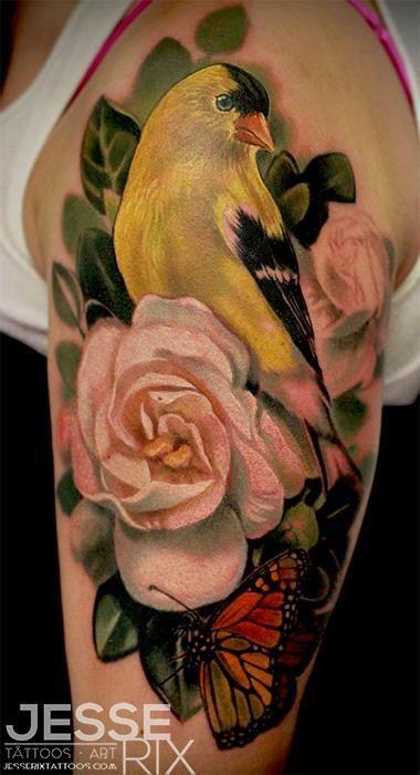 bird-tattoos-golden-finch-tattoo-realistic-flower-tattoo-jesse-rix ...
