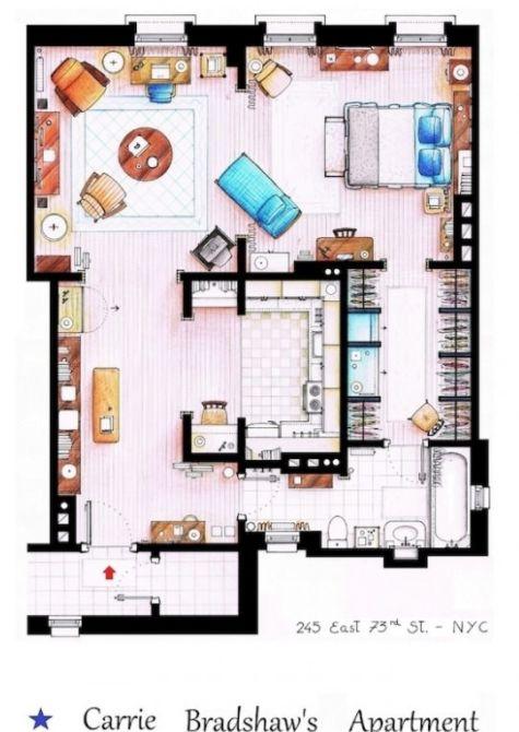 Binnenkant : Carrie Bradshaw's appartement