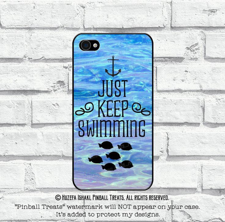 Just Keep Swimming, iPhone 6 Plus, iPhone 6, iPhone 5, 5s, iPhone 4, 4s and iPhone 5c case by PinballTreats on Etsy https://www.etsy.com/listing/222818281/just-keep-swimming-iphone-6-plus-iphone