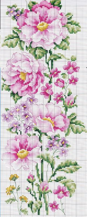 Pink flower vine full free cross stitch pattern