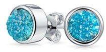 Bling Jewelry Dyed Blue Druzy Quartz Stud Earrings Rhodium Plated 8mm.