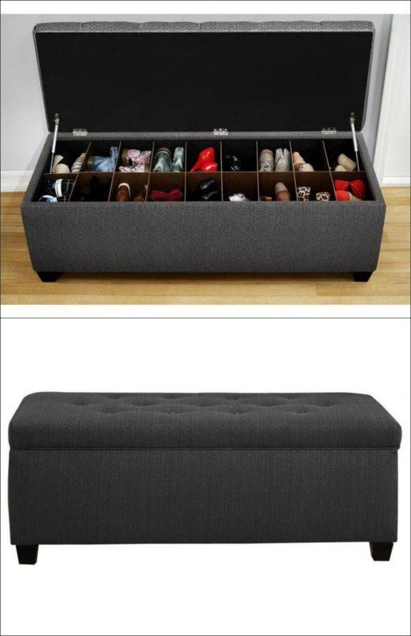 Банкетка может стать удобным и емким хранилищем для обуви. .