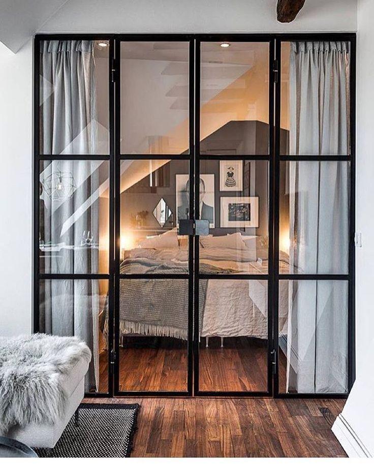 """359 Likes, 20 Comments - Ulrika Jakobson (@33kvadrat) on Instagram: """"Fint med glasdörrar till sovrummet bild @alexanderwhitesthlm #hemnet #inredning #interior4all…"""""""