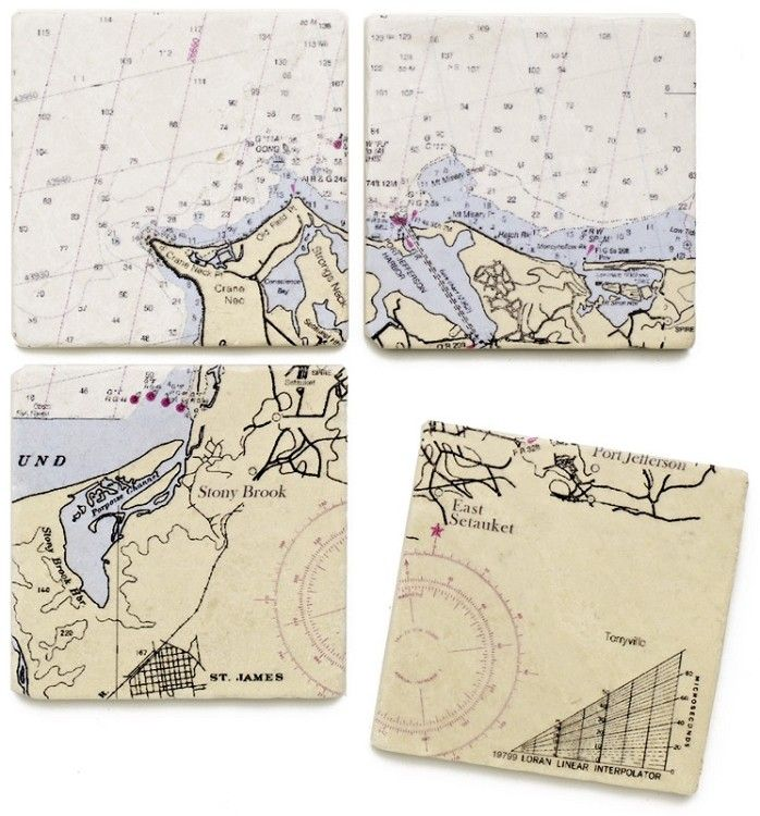 Nautical Chart Marble Coasters