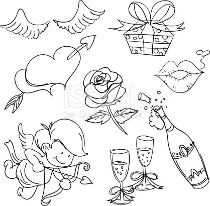 sketch valentines valentine drawing sketches vector drawings elements istock illustration istockphoto