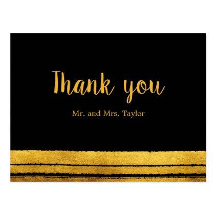 Black and Gold Brush Stroke Thank You Postcard - wedding thank you gifts cards stamps postcards marriage thankyou