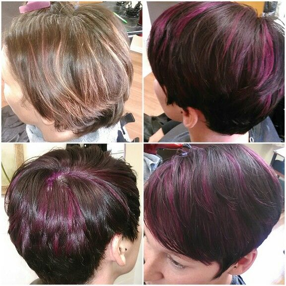 13 best multi color highlightslowlights images on pinterest after colored hair all over dark brown added accent streaks highlights of red burgundy by scruples urban shock cut hair asymmetrical with far part and pmusecretfo Choice Image