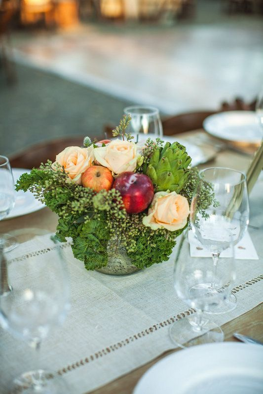 Edible Centerpieces.  Eco-friendly Farm-to-Table Wedding at Grassini Family Vineyards.  Planning and Design by Tyler Speier Events.  Photography by Montana Dennis.