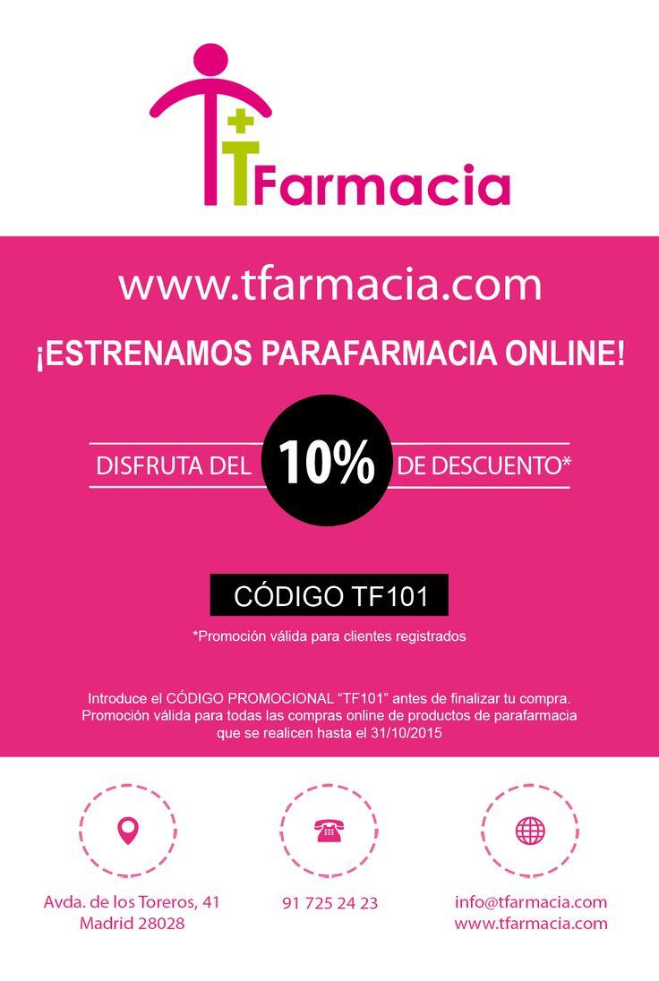 Descuento de bienvenida del 10% para nuevos clientes que se registren en nuestra web http://tfarmacia.com
