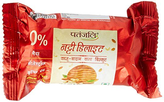 Patanjali Nutty Delite biscuits are Kaju-Badam biscuits with no artificial colors, no cholesterol, and maida. These biscuits are easy to digest and taste amazing. NUTTY DELITE 100gm Price Rs.15