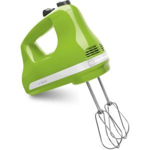 KitchenAid Hand Mixer:  Designed for speed adjustment, this electric mixer knows how to get the job done. All you'll need to do is turn the control knob, set the speed you want and KitchenAid Hand Mixer will know how to handle the rest. The Hand Mixer has a unique green color that makes it a perfect fit for all types of kitchens.