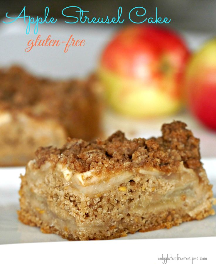 GLUTEN FREE DAIRY FREE AND EGG FREE ~ This is the best gluten-free apple streusel cake by far. The cake is moist with lots of apples throughout and deliciously flavoured with cinnamon. This coffee cake is heavenly when served slightly warm