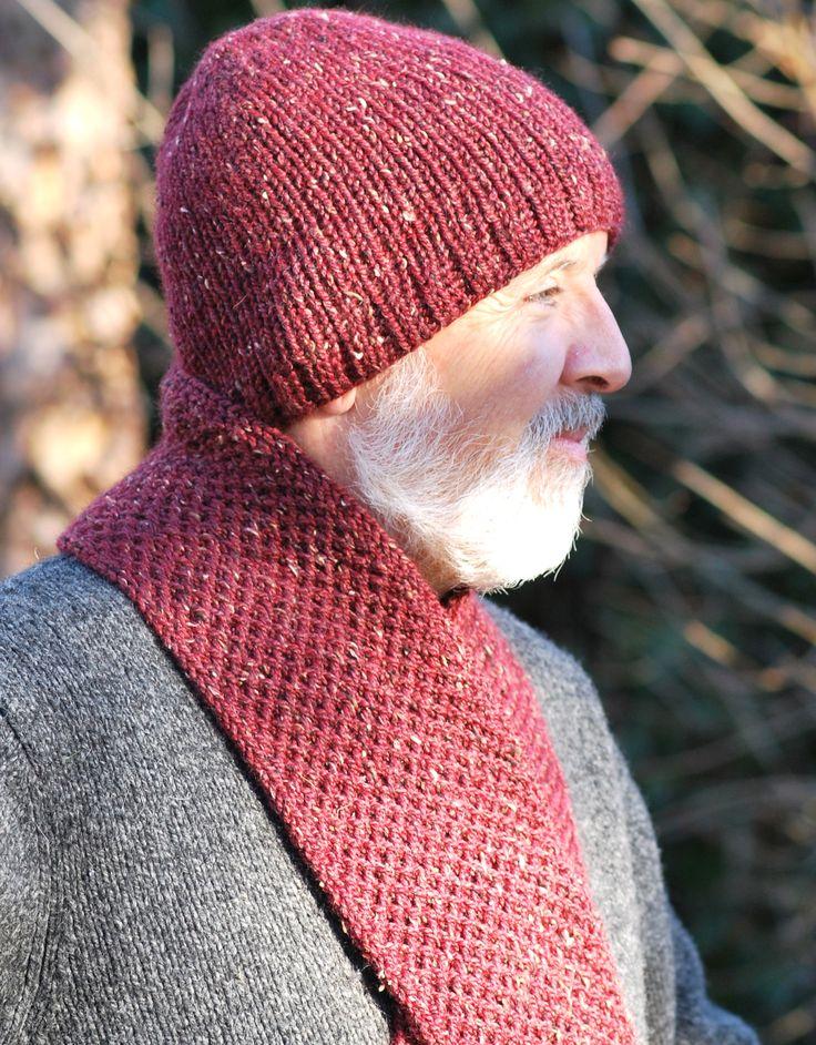 Men's Double Knit Hat & Scarf Combo - loom knitting - free pattern