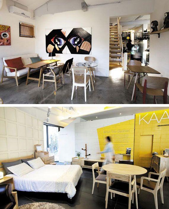 ■스칸디나비아 스타일의 실용적인 원목 가구  카페 카레 클린트(070-7633-8110, 강남구 청담동 3-11)는 동명의 가구 브랜드 제품을 만날 수 있다. 홍익대 목조형가구학과 동창인 세 명의 가구 디자이너가 만든 브랜드 카레 클린트는 대부분의 제품이 스칸디나비아 스타일의 원목 가구들이다. 카페 안에는 거실, 침실, 서재 공간으로 나눠 공간별로 원하는 가구를 직접 체험해볼 수 있다. 물푸레나무와 친환경 자재만을 사용해 수작업으로 만든 D라인 패브릭 소파는 154만5000원, 물푸레나무와 자작나무를 재료로 디자인은 간결하지만 다양한 수납공간을 갖춘 D라인 화장대는 89만원에 구입할 수 있다. 가구제조회사 에반스빌에서 운영하는 카페 에반스빌(070-7636-3872, 마포구 상수동 145-12)은 아담한 2층 주택을 개조한 가구 카페 겸 쇼룸이다. 지하는 실제 집처럼 주방, 안방, 거실 등으로 꾸며 공간 활용법, 가구 배치 등을 제안하고 있다. 1·2층은 카페로 식탁, 의자…