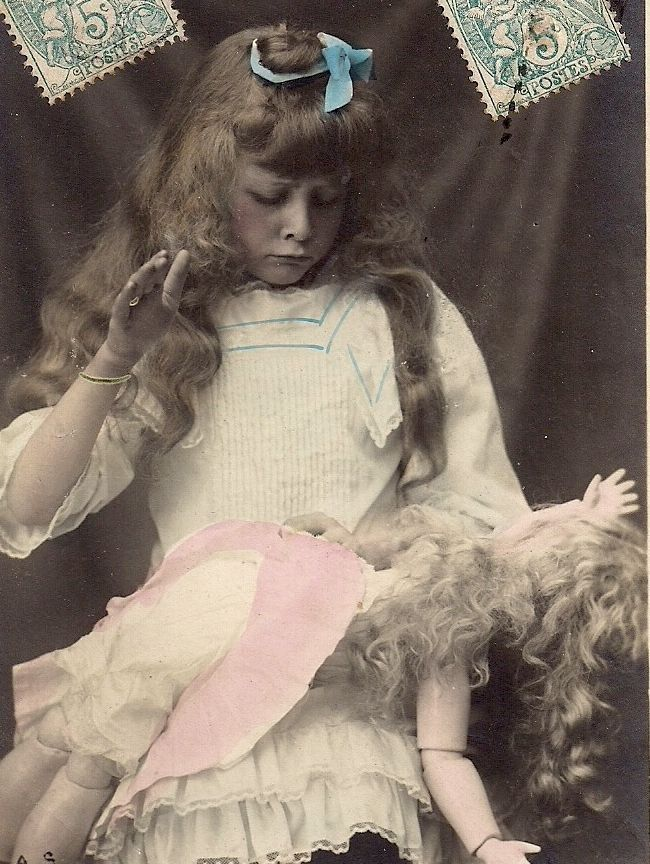 Pretty Long Haired GIRL SPANKS Lookalike DOLL~Vintage RPPC Real Photo Card #1