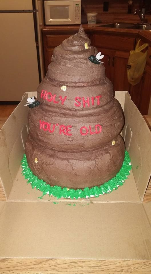 Poop cake for an over the hill birthday party. Done by Lisa lee and Bernice jones!