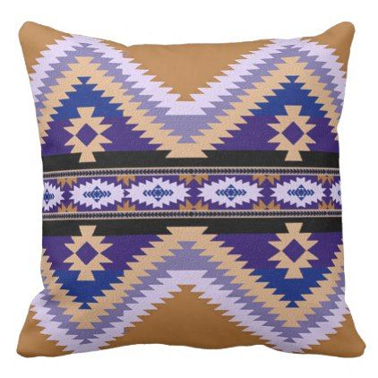 Southwest Tribal Geometric Beige Brown Purple Throw Pillow - diy cyo personalize special unique