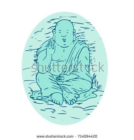Drawing sketch style illustration of Gautama Buddha, also known as Siddhartha Gautama, Shakyamuni Buddha, an ascetic and sage in lotus sitting pose set inside oval.  #gautamabuddha #drawing #illustration