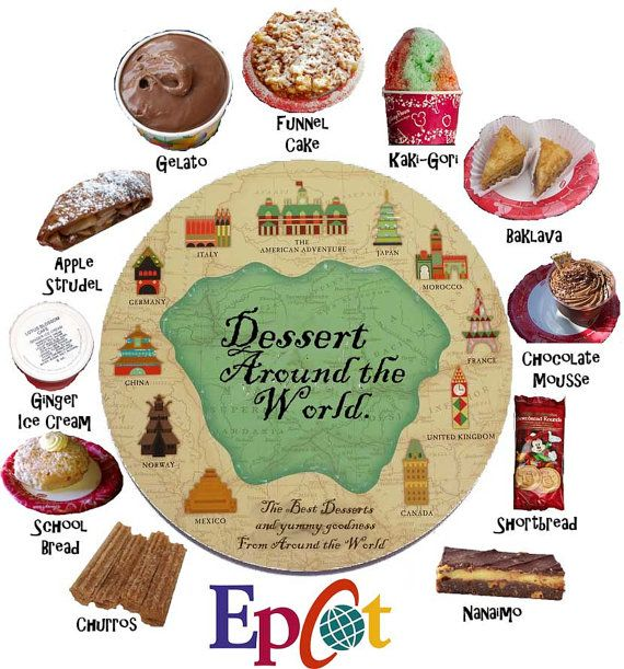 """Desserts around the World! .. at Epcot,  REMEMBER to get the """"school bread"""" in Norway."""