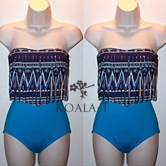 Tribal Print Fringe Top  Blue High Waist Bikini by KoalaTFashion, $44.99