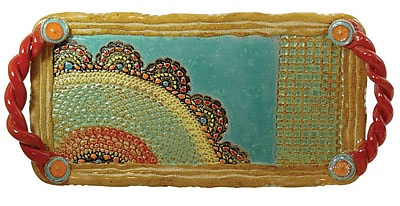 Esperanza Rainbow Tray: Laurie Pollpeter Eskenazi: Ceramic Tray - Artful Home