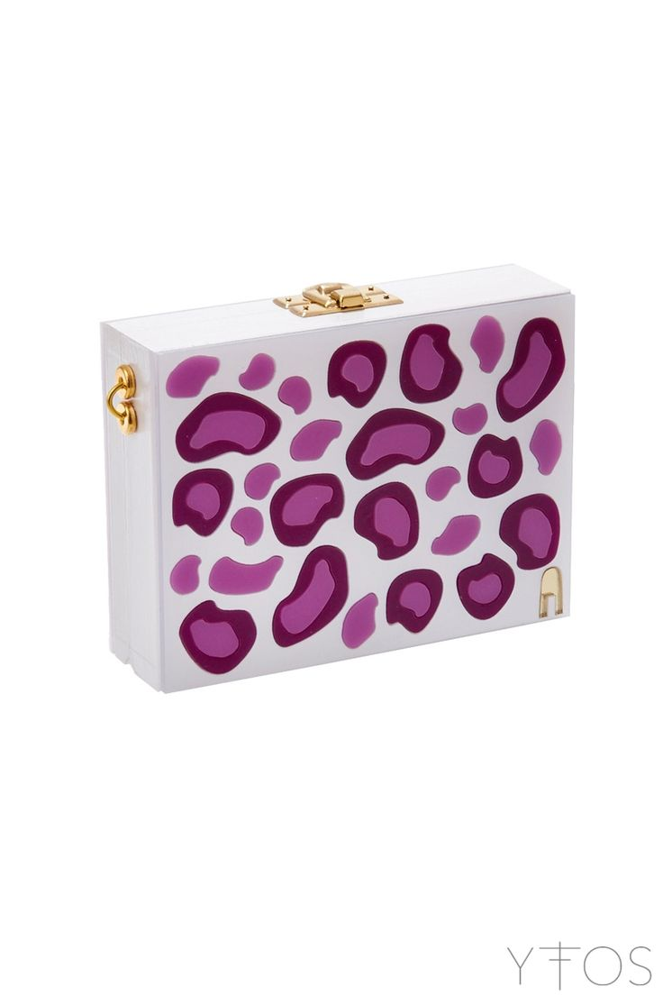 'Purple Leopard' White Clutch Bag