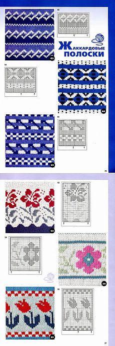 Жаккардовые полоски и орнаменты спицами