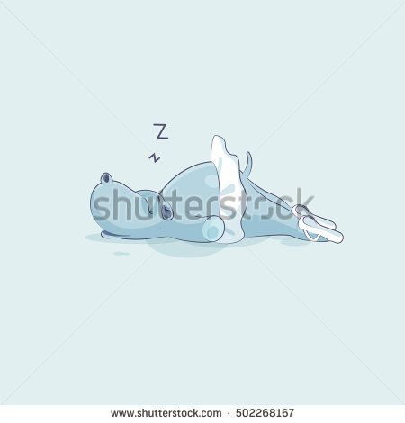 Vector Stock Illustration isolated Emoji character cartoon ballerina Hippopotamus sleeps on stomach sticker emoticon for site, info graphic, video, animation, website, mail, newsletter, report, comic